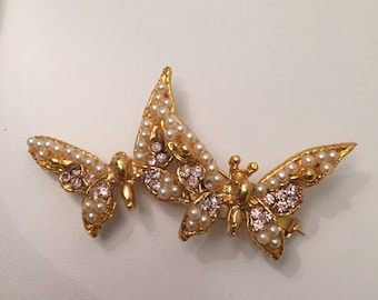 Beautiful double Butterfly lilac pearl stones contage brooch