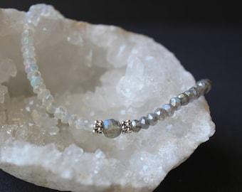Opal Bracelet with Moonstone and Labradorite, Moonstone Bracelet, Labradorite Bracelet, June Birthstone, Dainty Gemstone Beaded Bracelet