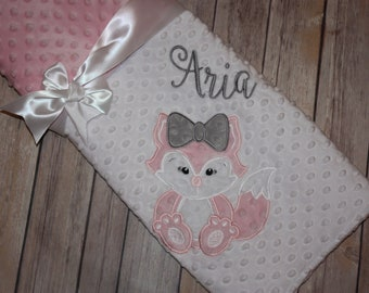 Fox- Personalized Minky Baby Blanket - white / Pink Minky - Embroidered Girlie Fox