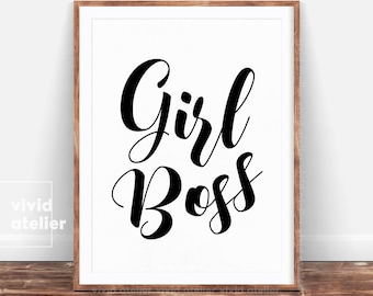 Girl Boss Print, Boss Lady Wall Art, Gift For Her, Home Office Decor, Boss Print, Typography Print, Inspirational Quote Printable, Poster