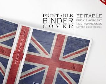 Personalized Binder Cover - Printable, Editable Britain UK Union Jack Theme Download - Multi Spine Sizes - Organization British Binder Cover
