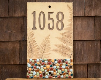 Ceramic Address House Number Sign for Outdoor Use / Housewarming or Wedding Gift / Cabin or Vacation Home / Pebbles & Ferns / CUSTOM MADE
