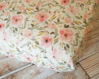 Floral Crib Sheet - Girls Baby Sheet - Pink Crib Sheet - Toddler Sheet - Floral Changing Pad Cover - Baby Shower Gift - Baby Bedding