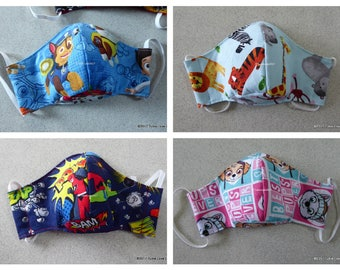 Child's Face Mask, Germ Mask, Allergy Mask, Mixed Designs