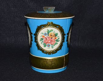 Vintage English Tea Tin, Decorative Tea Canister Made in England, Blue Floral Theme Tea Container, George W. Horner & Co Tea Canister