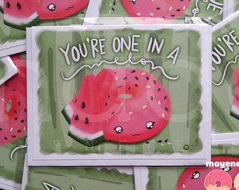 watermelon donut pun greeting card, size A2