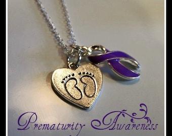 Tiny Footprint Prematurity Awareness Ribbon Necklace / Preemie / NICU Necklace / Neonatal Necklace