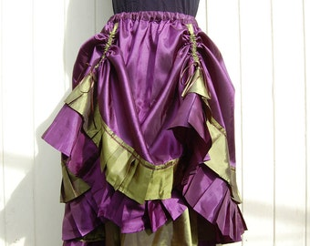 Steampunk Skirt, Pirate Wench in Purple and Green Taffeta