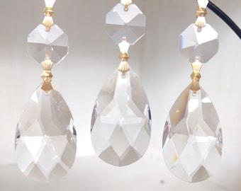 5 Clear Lead Crystal Teardrop Chandelier Prisms 50mm