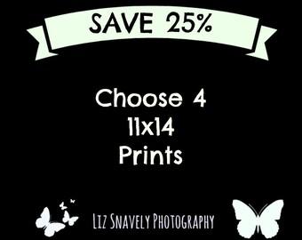 Four Photo Set, 4 Prints, 4 Photo Set, 4 11x14 Prints, Set of 4 Prints, 11x14 Photos, 25% Off, Four 11x14 Photos, Choose 4 - 11x14 Prints