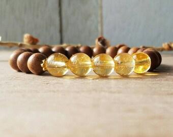 Citrine and Sandalwood Bracelet, Solar Plexus Chakra, Fragrant Sandalwood, Yoga Jewelry, Boho, Stacking Bracelet, Chakra Healing, Yoga