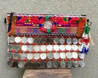 Suede Bag, Coin Bag, Banjara Bag, Boho Bag, Tribal Clutch Bag, Gypsy Clutch, Boho Clutch, Tribal Bag called Jade