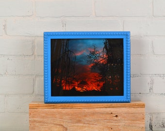 """8x10"""" Picture Frame in 1x1 Decorative Bumpy Style with Vintage Cobalt Blue Finish - IN STOCK - Same Day Shipping - 8 x 10"""" Photo Frame Blue"""