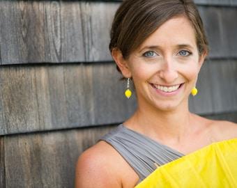 Yellow Bridesmaid Earrings - Bridesmaid Gift - Yellow Earrings - Thank You Bridesmaid