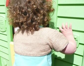 Knitting PATTERN Seamless Top Down BABY Girl SHRUG Cardigan Sweater - Sienna a simple seamless shrug