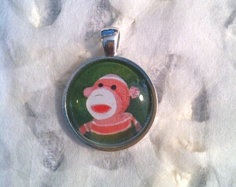 Rainbow Sock Monkey Art Jewelry - Real Glass - 1 Inch Circle Bezel Pendant -  Maurice - Cute Animal - Monkey Jewelry