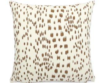 Brunschwig Fils Les Touches Tan and Cream Pillow Cover, 18x18, 20x20, 22x22, Eurosham or Lumbar, Leopard Print, Modern Spotted Cushion Cover