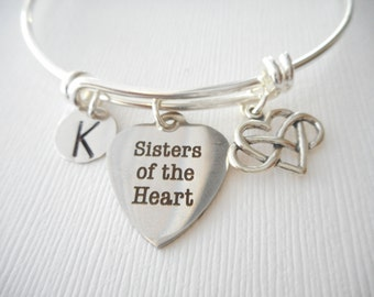 Sisters of the Heart, Infinity Heart- Initial Bangle/ big sister little sister, sisters jewelry and gifts, Bracelets for Sisters, sisters