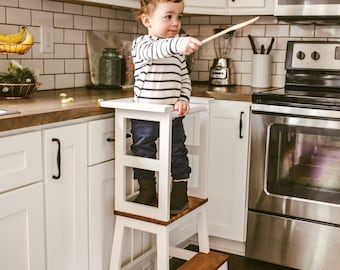 Little Chef Stool BOTTOM, Kitchen Helper, Kid Step Stool, Toddler Step Stool, Modern Step Stool, Rustic Step Stool