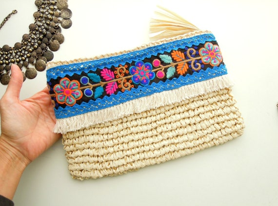 Raffia clutch bag Bohemian clutch handbag OOAK Cream raffia pouch handbag with ethnic trims Summer straw handbag. Gift for her