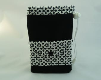 Black and white pouch for phone or camera