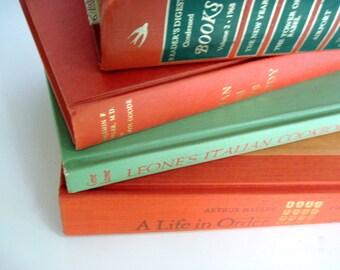 Wedding Decor, Wedding Books, Boho Wedding Decor,  Orange Book Stack, Instant Library, Orange Color Pop, Office Decor, Orange and Green
