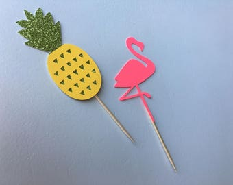 pineapple + flamingo cupcake toppers