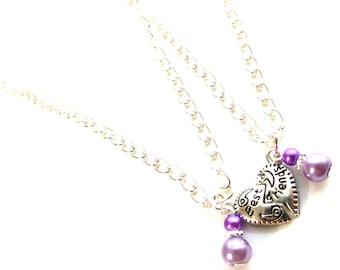 "Personalised Handmade ""Best Friends"" Split Heart Pendants with Necklaces"