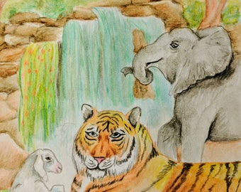 Paradise watercolor painting /print - Matted and Signed by artist /Tiger /Elephant