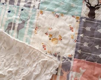 Woodland Baby Girl Quilt, Fawn Quilt, Deer Quilt, Toddler Girl Bedding, Crib Quilt, Nursery Bedding, Deer Baby Bedding