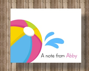 PERSONALIZED NOTECARDS Pool Party Beach Ball/Boxed Set of 10 for Girls or Boys/Pool Party Thank You Cards/Summer Swim Party/Thank You Card