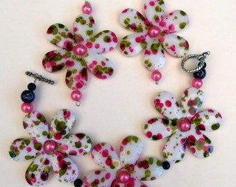 Pretty in Pink Bracelet & Earrings -Jewelry Set