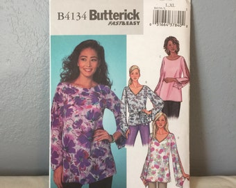 Butterick Sewing Pattern B4134 Ladies Pullover Blouse Shirt Top Plus Size L XL
