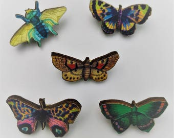 5 x Wooden Brooches - Butterfly, Fly (SET W)