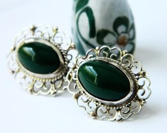 Sterling Silver Vintage Earrings / Mexico Green