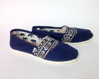 Hand painted Navy Blue Aztec Toms Shoes with Gold and Silver Geometric Trangles Tribal Design, Slip on Shoes, Gift Idea