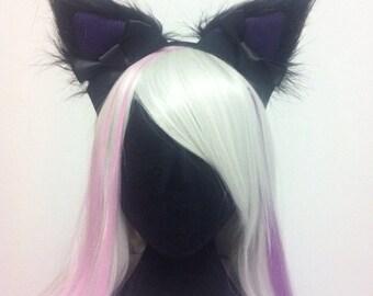 Your Choice Colour Cosplay Cat Ears Headband Purple, Blue, Pink, Black Faux Fur Nekomimi Hens Party Night Handmade in Australia