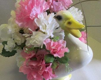 Silkflower arrangement Centerpiece Spring with duck planter OOAK