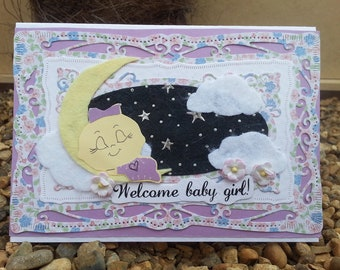 Welcome baby girl Handmade Greeting Card birthday baby born shower little one violet moon