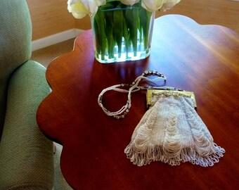 Vintage Beaded Purse by Christiana, Silk Lining, Cream Beige Beads Loopy Fringe, Fancy Metal Frame, Beaded Shoulder Strap, Wedding Prom Bag