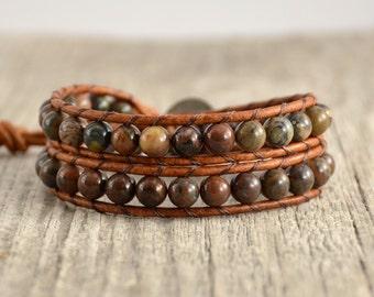 Wrap bracelet. Natural stone bead bracelet