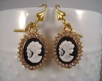 Cameo Earrings Victorian Jewelry Black Rhinestone Earrings Cameo Jewelry