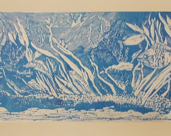 Lovely Seascape Linoleum Block Print on Tan BFK Printing Paper