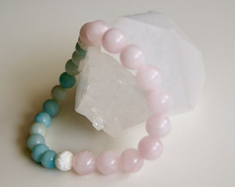 Lotus Amazonite and Rose Quartz Mala Bracelet