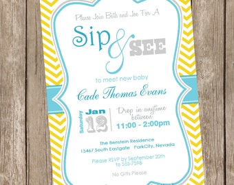 Neutral sip and see baby shower invitation, yellow, teal, chevron, printable invitation 20121228-K1-1A