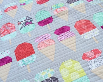 PDF Pattern for Scooped Cot Crib Patchwork Quilt. Ice Cream Gelato Handmade Quilt for Nursery Child Bedroom
