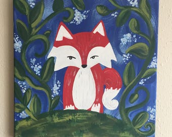 Mystic Forest Fox Painting