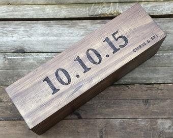 Engraved Wedding Wine Box, Wedding ceremony wine box, custom wine box, wedding date, wine box, memory box, wedding gift, anniversary gift