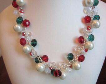 Pearl and Crystal Cluster Necklace - Choker, Bib, Bridal, Wedding, Bridesmaid, Prom, Holiday, Christmas