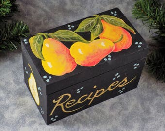 Hand Painted Pear Theme Recipe Box 3 x 5 cards Original Design Art
